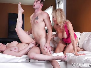 Young small fry fucks the girlfriend and her mature mom