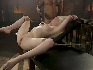 Submissive blonde deep fucked and stimulated connected with raw enslavement