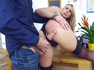 Blonde Cougar School gets Ravaged by Student's Cock