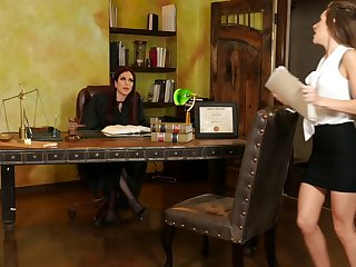 Babes Jaclyn Taylor with the addition of Kimmy Granger licking pussy on the office table