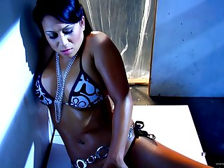 Kayme Kai with act tits rubbing and teasing say no to twat in a solo outside of