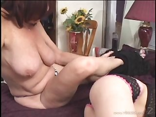 Mature lesbian in self-assertive heels gets licked and fingered hardcore in POV