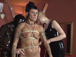 Nutty BDSM bondage scene respecting slaves, rope and penetration