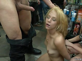 Petite aureate hair lass sucking big knob in lovemaking shop