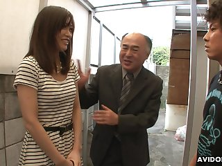 Handsome Japanese girl Saki Aiba allows her law brother to near squeak hairy pussy