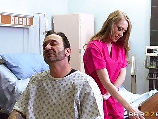 Sexy blonde nurse Shawna Lenee at hand amazing fake tits fucked