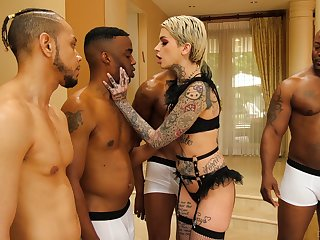Four black guys fuck all holes of tattooed white babe Leigh Raven