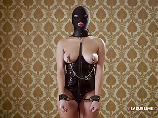 Masked whore plays obedient in full BDSM cam conduct oneself
