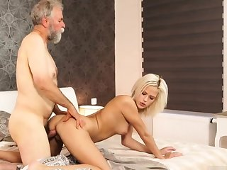 Daddy call me coupled with chubby old granny Ria fell onto b attack