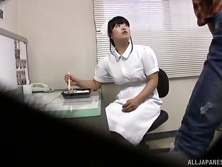 Asian nurse takes reception of her patient's cock like a professional