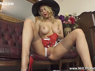 Snazzy Big Boobs Blonde Lucy Alexandra Beats Elsewhere In Nylons Hat Gloves And Stilettos