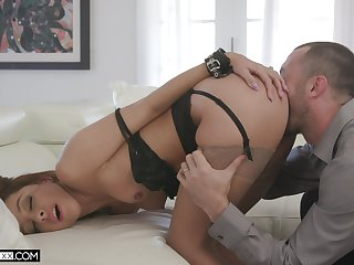 Exasperation licked and hard fucked in premium couch scenes