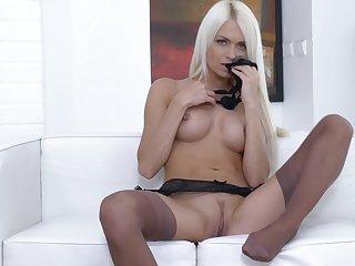 Sexy blondie Lena Love surrounding surprising underwear pleasures her pussy