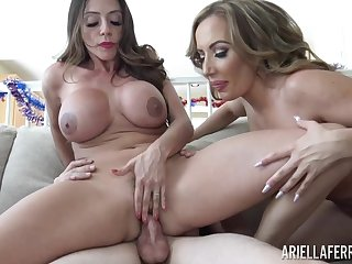 Two curvy MILFs share a young man's cock on 4th of July