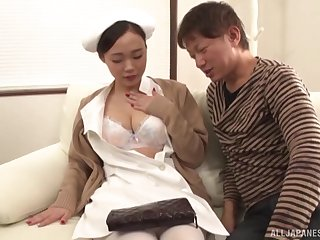 Japanese nurse gets her mouth plus pussy fucked by a lucky man