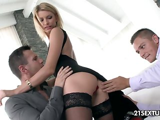 Sexy and slutty blonde Karina Grand is eager to take double penetration