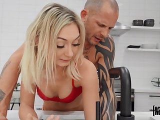 Bizarre daddy fucks naughty stepdaughter in red G-strings Chloe Temple