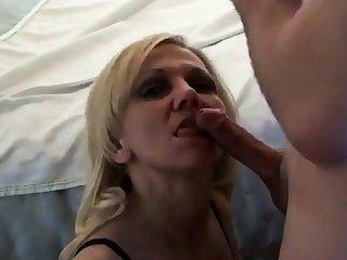 Petite mature blonde facial
