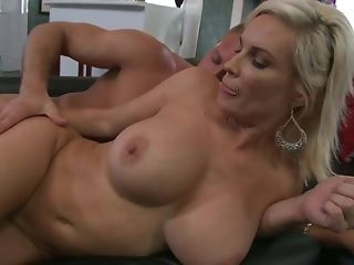 Insatiable guy gets to shag platinum-blonde milf on the sofa free sex