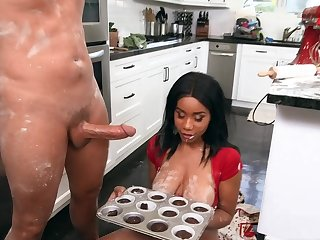 Naked ebony slut with broad in the beam tits, crazy kitchen fuck
