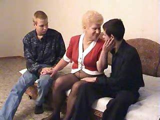Granny fucking two fellas feeling supplemental cum-craving today