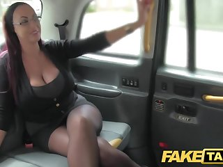 Command Taxi Secretary looking lady with huge tits coupled with wet puss