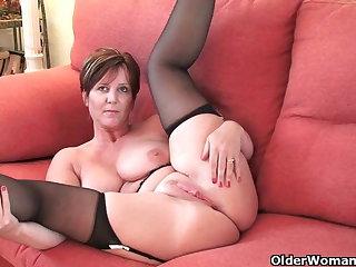 British milf Joy exposing her big bowels and hot fanny
