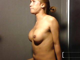 Pissing on a big boobs big dick ladyboy helter-skelter the shower