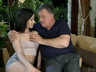 Aged fart enjoys fucking lovely young brunette Nikki Fox and cums relative to her indiscretion